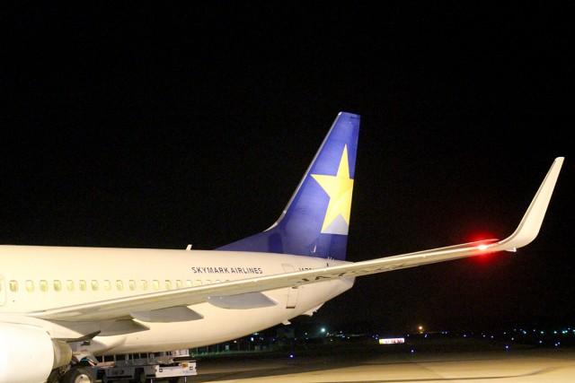 タラップで搭乗前にパチリ。茨城空港ならではの一枚