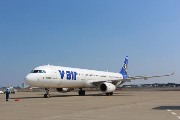 茨城空港に到着したVエア「茨城-台北線」国際定期便の初便