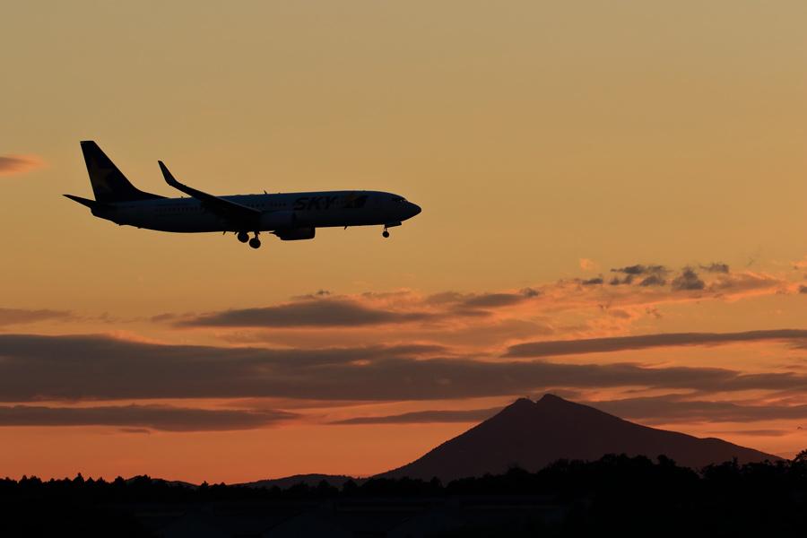 夕焼けの筑波山